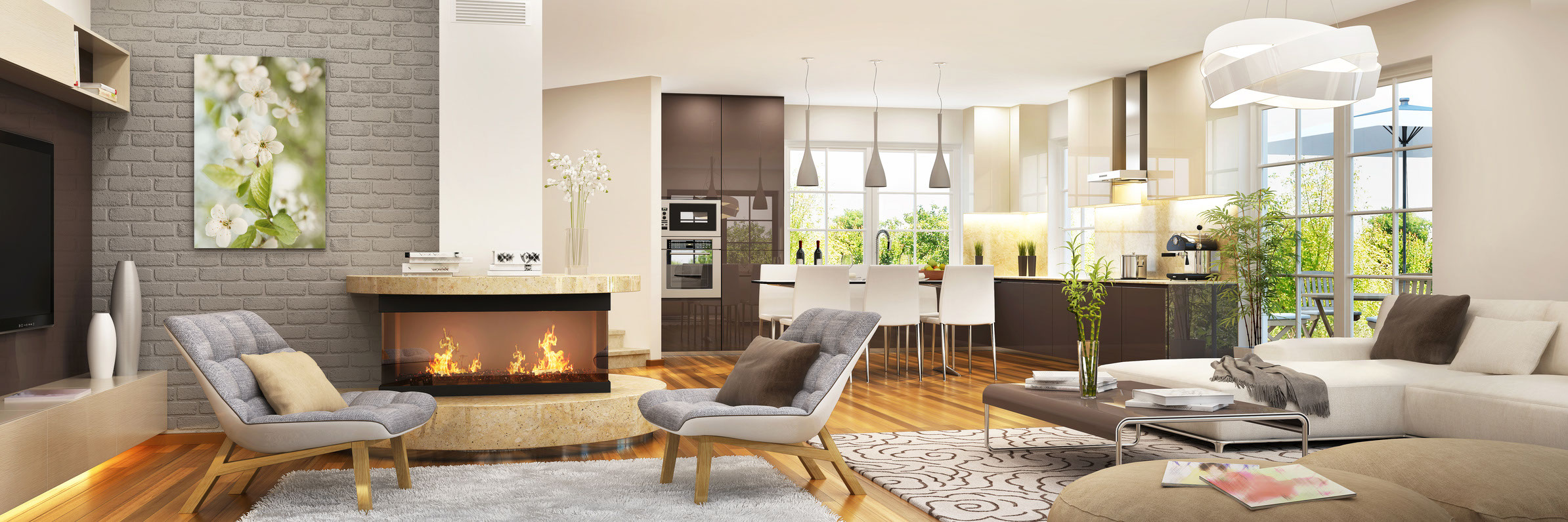 Living room with kitchen and fireplace